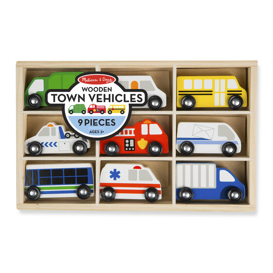 Wooden town vehicles in packaging