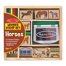 Wooden Horses themed stamps with colored pencils and stamp pad in packaging