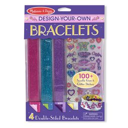 Four double sided bracelets with sparkle gem and glitter stickers in packaging