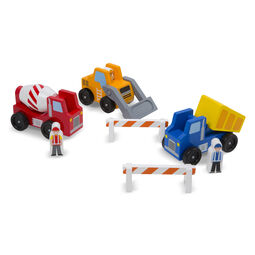 Classic Wooden Toy Construction Vehicle Set