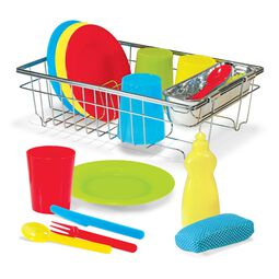 Wire dish drying rack with plastic dishes and utensils