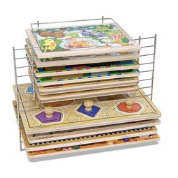 Wire rack filled with wooden puzzles