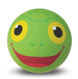 Green ball with a happy painted frog face