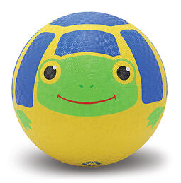 Blue and yellow turtle shell ball with happy painted green turtle face