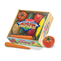 Pretend plastic vegetables in packaging