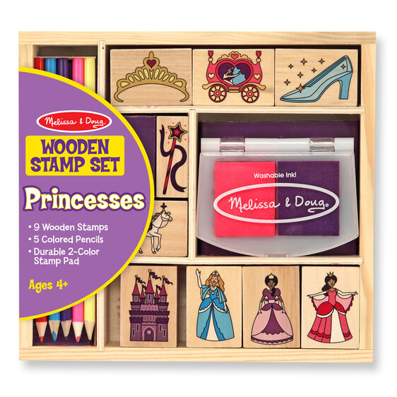 Princess themed wooden stamps with colored pencils and stamp pad in packaging