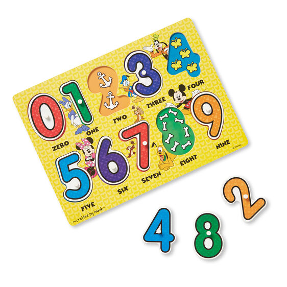 Disney Mickey Mouse Numbers Wooden Peg Puzzle