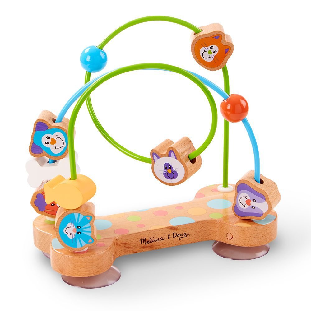 Colorful Wooden Puzzle Around Circle Beads Baby Kids Early Educational Game Toys