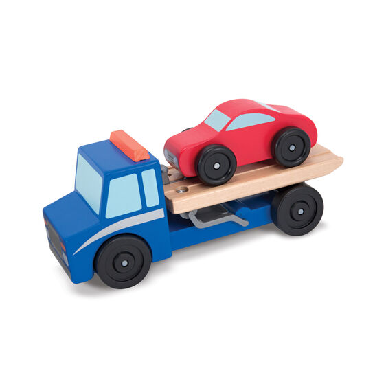 Wooden flatbed tow truck with wooden car