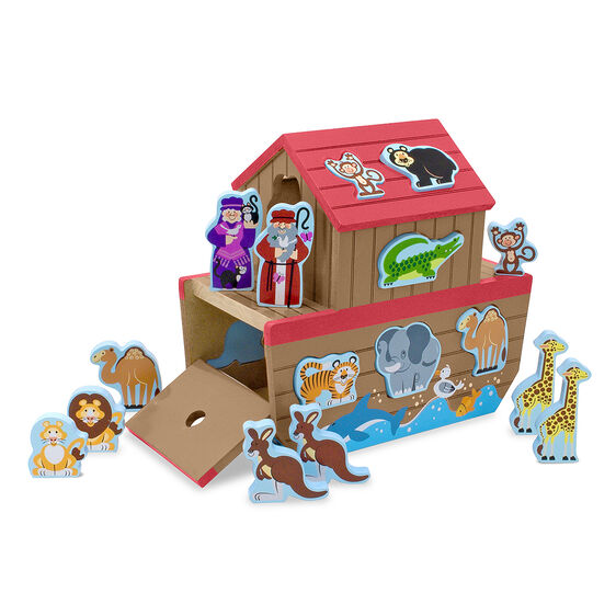 Wooden Noah's Ark play set with removable animal pieces