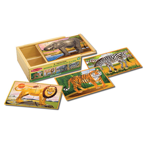 Zebra, tiger, lion, and elephant jigsaw puzzles with wooden box