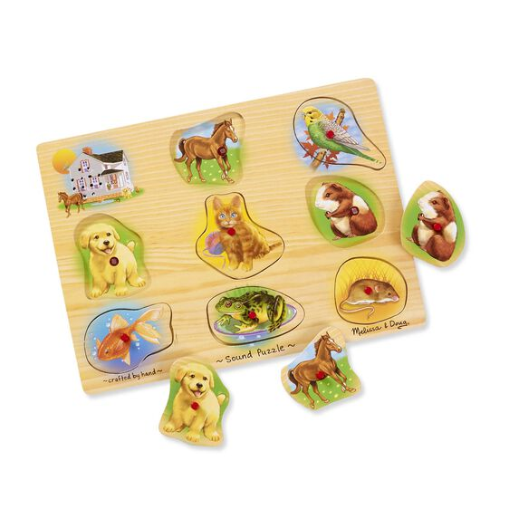 Nine piece pets sound puzzle with House, Dog, Fish, Horse, Cat, Frog, Bird, Gerbil, and Mouse pieces