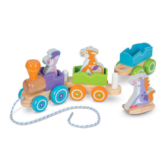 Wooden train with farm animal toys and pull string