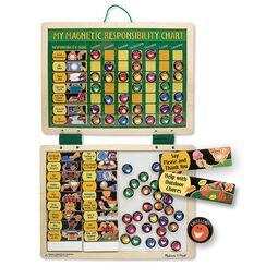 Two panel hanging magnetic responsibility chart with magnetic chore pieces
