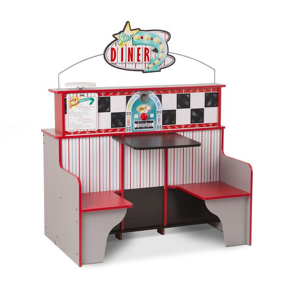 Wooden diner booth table