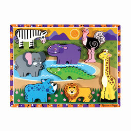 Eight piece safari chunky puzzle with Zebra, Elephant, Rhino, Hippo, Alligator, Lion, Ostrich, and Giraffe pieces