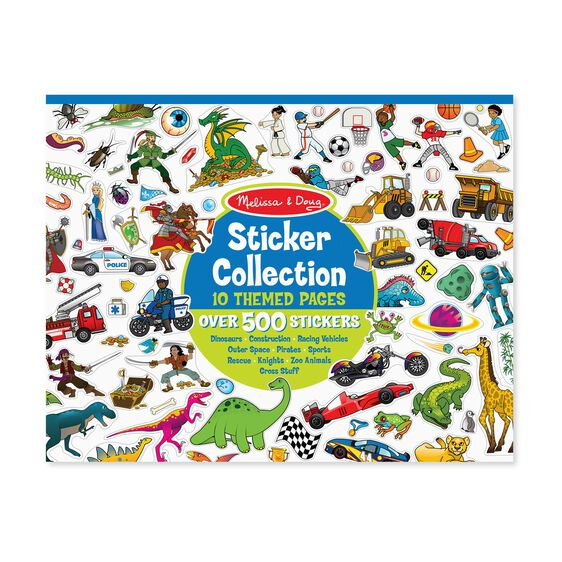 Sticker Collection Book: 500+ Stickers - Dinosaurs, Vehicles, Space, and More