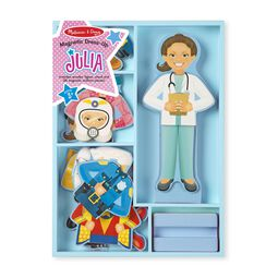 Magnetic dress up with female wooden doll