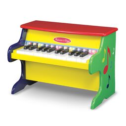 navy blue, yellow, red, and green piano