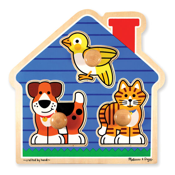 Three piece jumbo knob puzzle in the shape of a house with dog, bird, and cat pieces