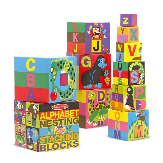 Colorful alphabet stacking blocks with various illustrations