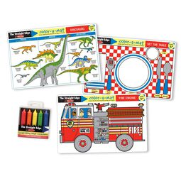 Dinosaurs, place setting, and fire truck mats with retractable crayons