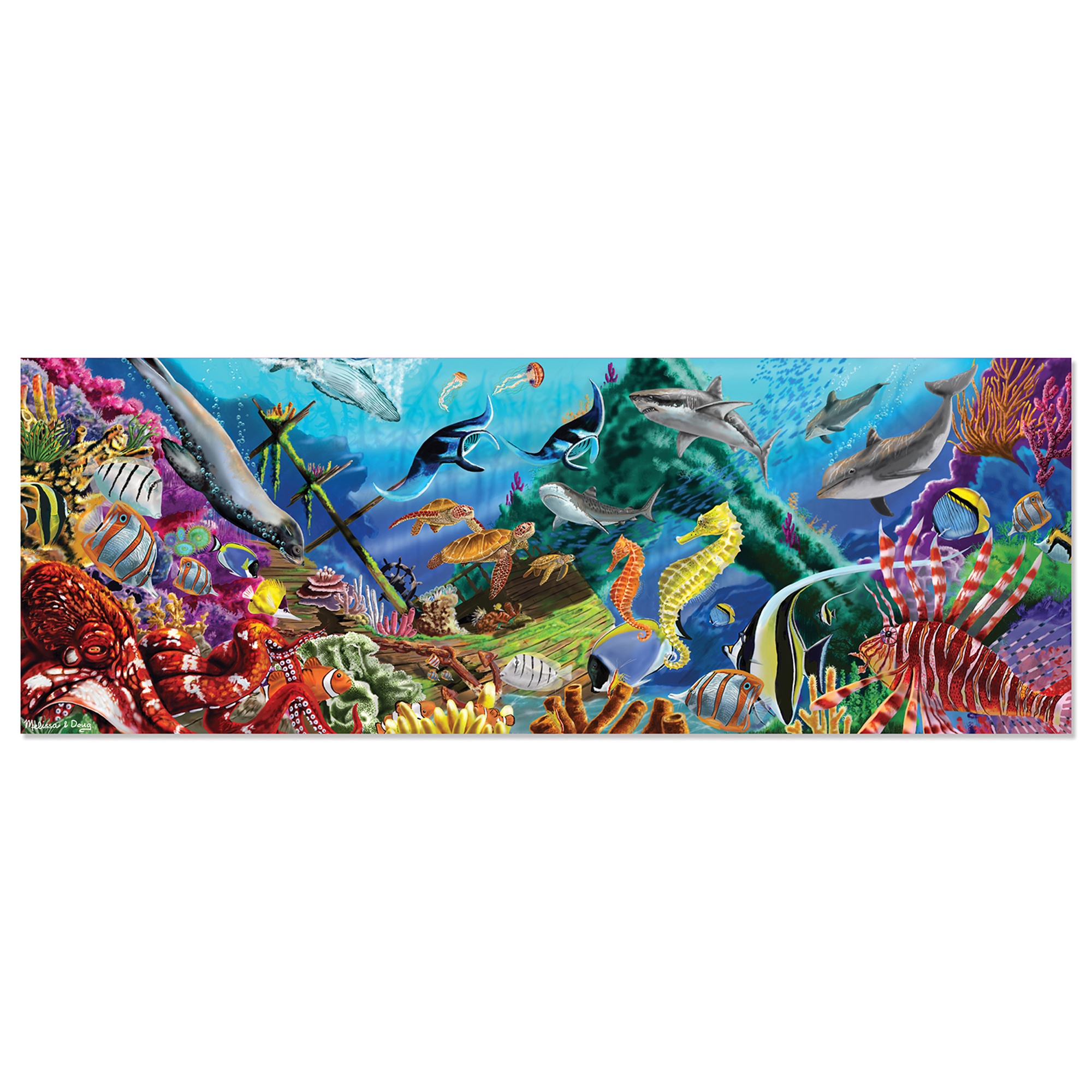 """Explore the ocean depths with this 200-piece cardboard jig-saw puzzle. Complete the more than four-foot-long rectangular puzzle and use the included picture key to identify the 24 different kinds of sea creatures featured in the brightly-colored ocean oasis. The """"Easy Clean"""" surface keeps the puzzle looking like new. 50"""" x 18"""" assembled"""