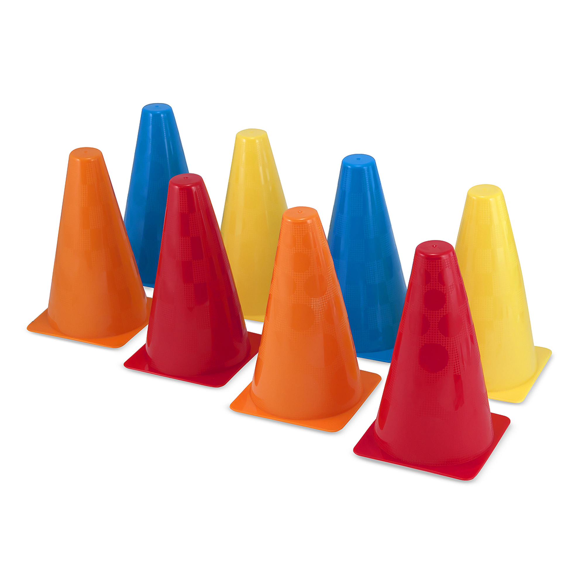 """Grab a stack of these sturdy plastic cones and head outside to play! Four different colors and two textures make every cone unique, so they're great for traditional outdoor games and so much more. The included play guide includes instructions for dozens of exciting activities from races to balance games, plus bonus tips to inspire your own ideas for enjoying this indoor-and-outdoor toy. Durably built and cast in fade-resistant colors, these exciting little """"construction cones"""" will stay standing tall and looking great, from water play to sports games to pretend play and beyond!"""
