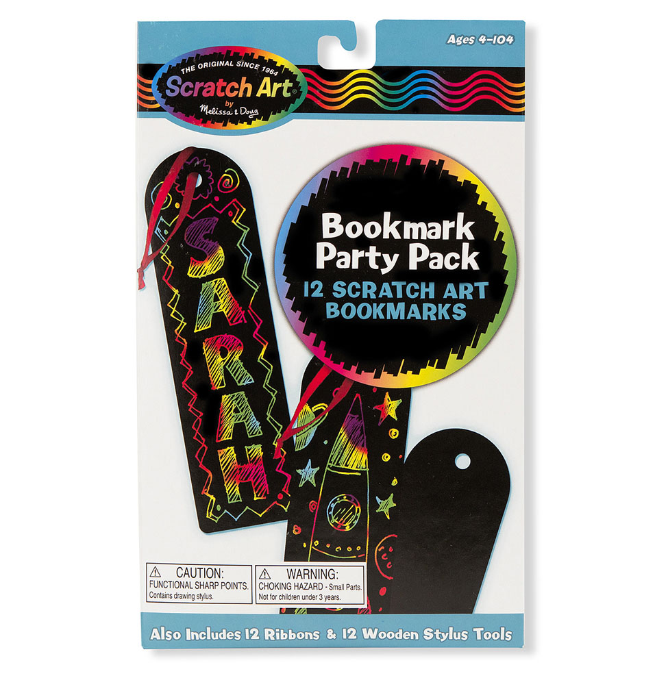 Scratch Art for everybody! This 12-pack of ribboned bookmarks makes for perfect kids' party favors and a great party activity. Pass around the supplies and follow the simple instructions to make your own bookmarks covered with Scratch Art designs! Just use the included stylus sticks to etch into the black coating, revealing multi-colored effects with every stroke. It's the perfect party mix of creative souvenirs and arts and crafts for kids!