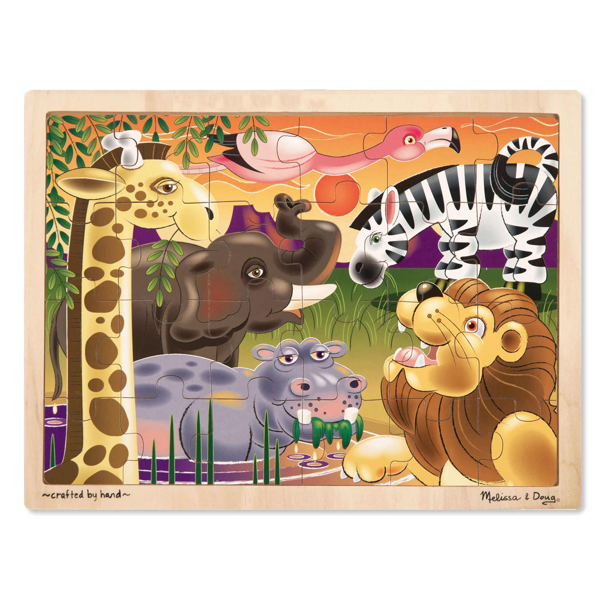 The sun may be setting on the Savannah, but this 24-piece wooden jigsaw provides puzzle fun at any time of day. With a hippo in the watering hole and a flamingo in flight, assembling this jigsaw reveals part of African life with every piece. This educational kids' puzzle comes packaged in a sturdy wooden tray for play and easy storage.