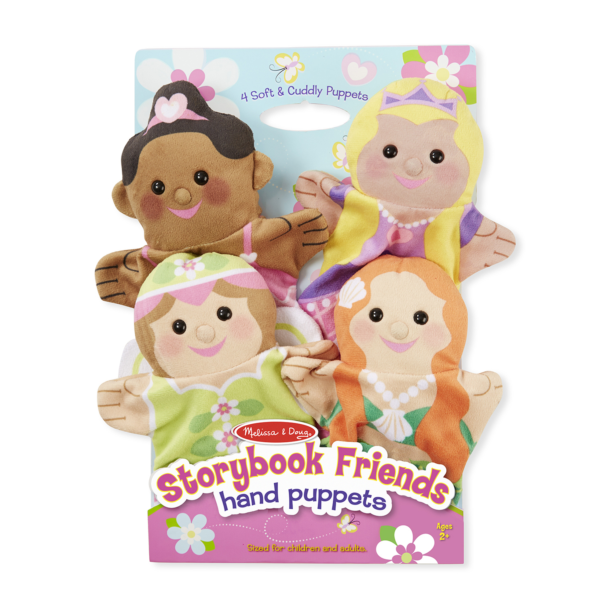 This four-piece hand-puppet set includes a beautiful collection of friendly characters! Designed to help children and caregivers role-play together in a sweet and simple way, the princess, fairy, mermaid, and ballerina are sure to inspire countless creative stories and amazing imaginary adventures. The simple glove puppets fit children and adults and are easy to use, so even the littlest puppeteers can see exciting movement with very little skill - terrific for self-confidence, and also an invaluable booster for motor skills, hand-eye coordination, communication skills, parent-child bonding, and so much more! Made with brightly patterned, washable fabrics and built to last, these soft and sweet hand puppets are sure to be go-to toys for yea