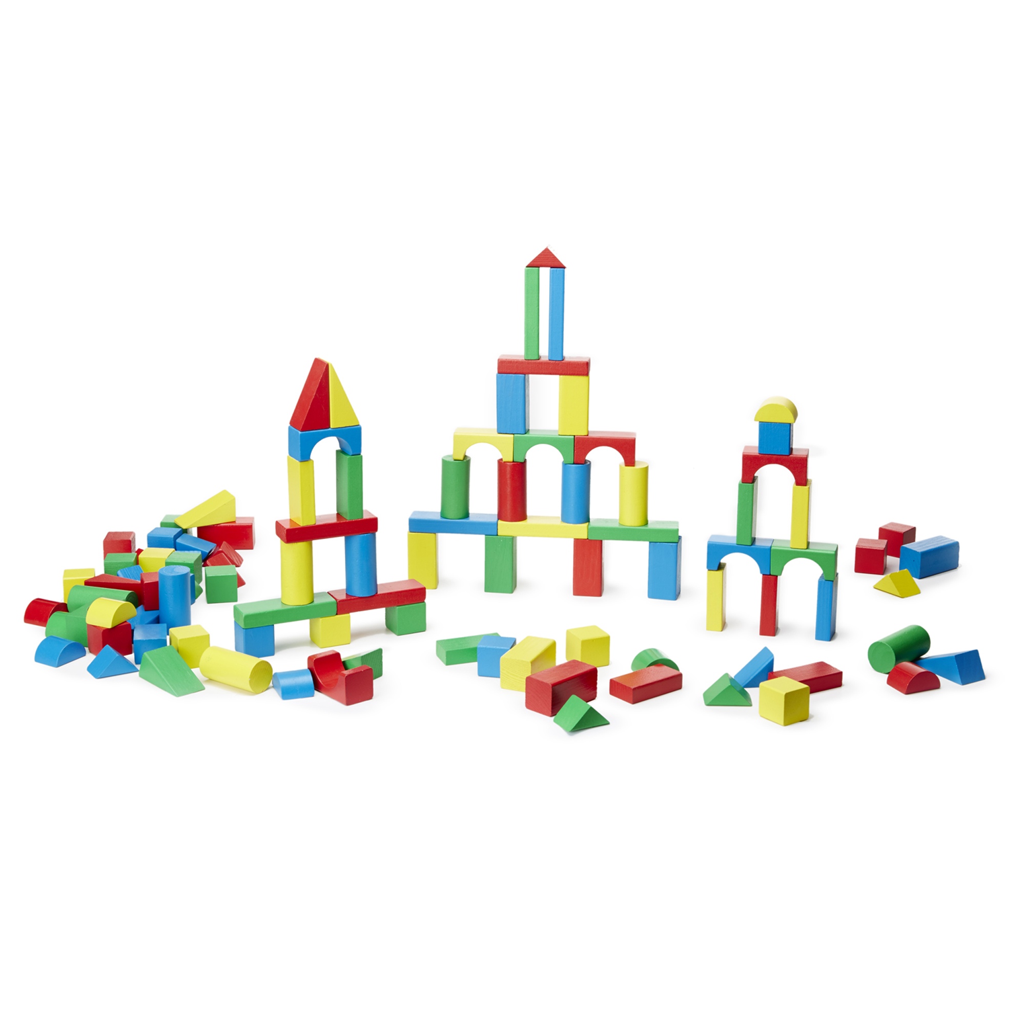 200 blocks in four colors and nine shapes for your little builder to stack, build, and knock down! Bright, non-toxic colors add to construction and sorting fun.