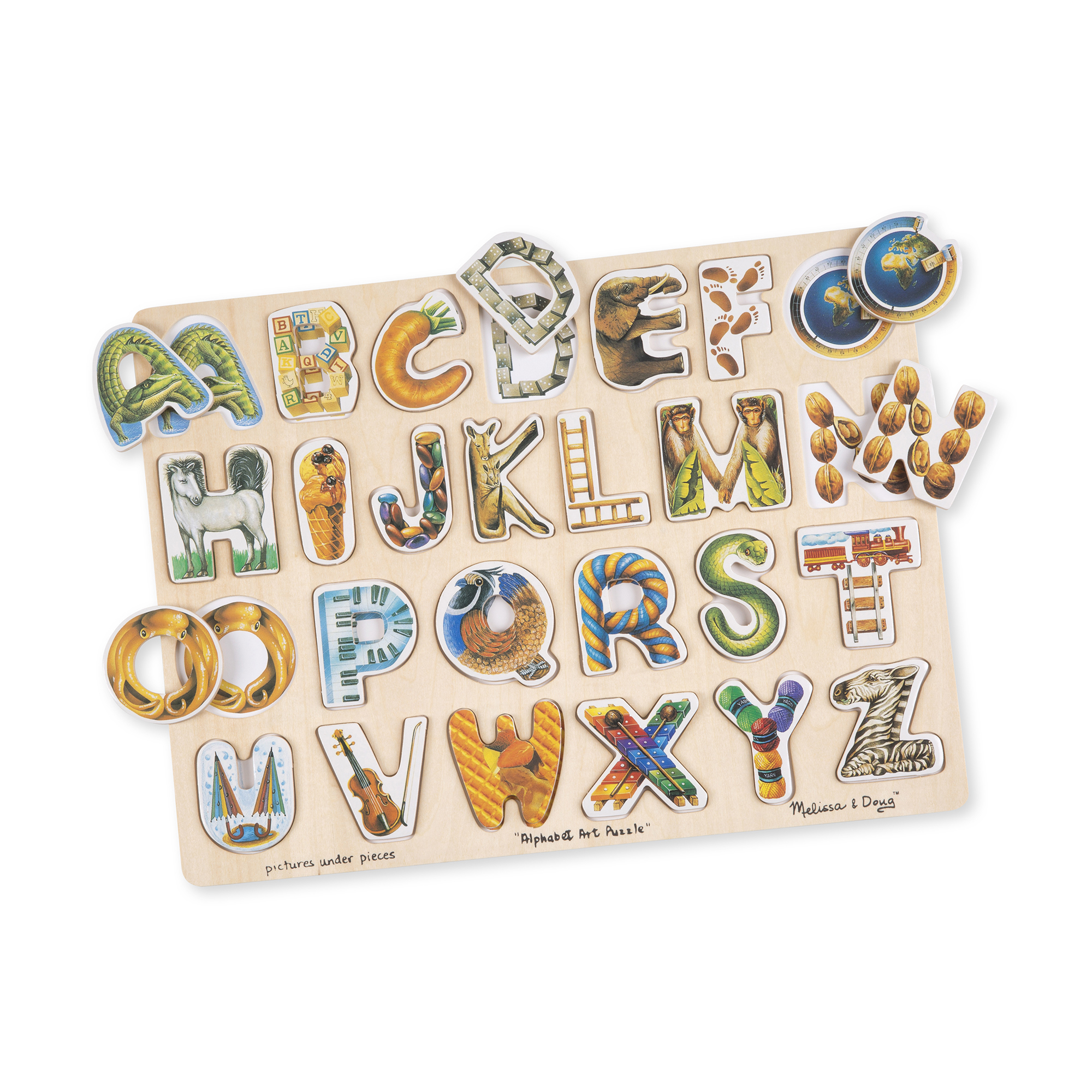 From Acrobatic Alligator all the way to Zigzag Zebra, this colorful wooden alphabet puzzle has beautifully detailed pictures. When the piece is removed, a full color illustration with a matching image helps children find every letter its home.