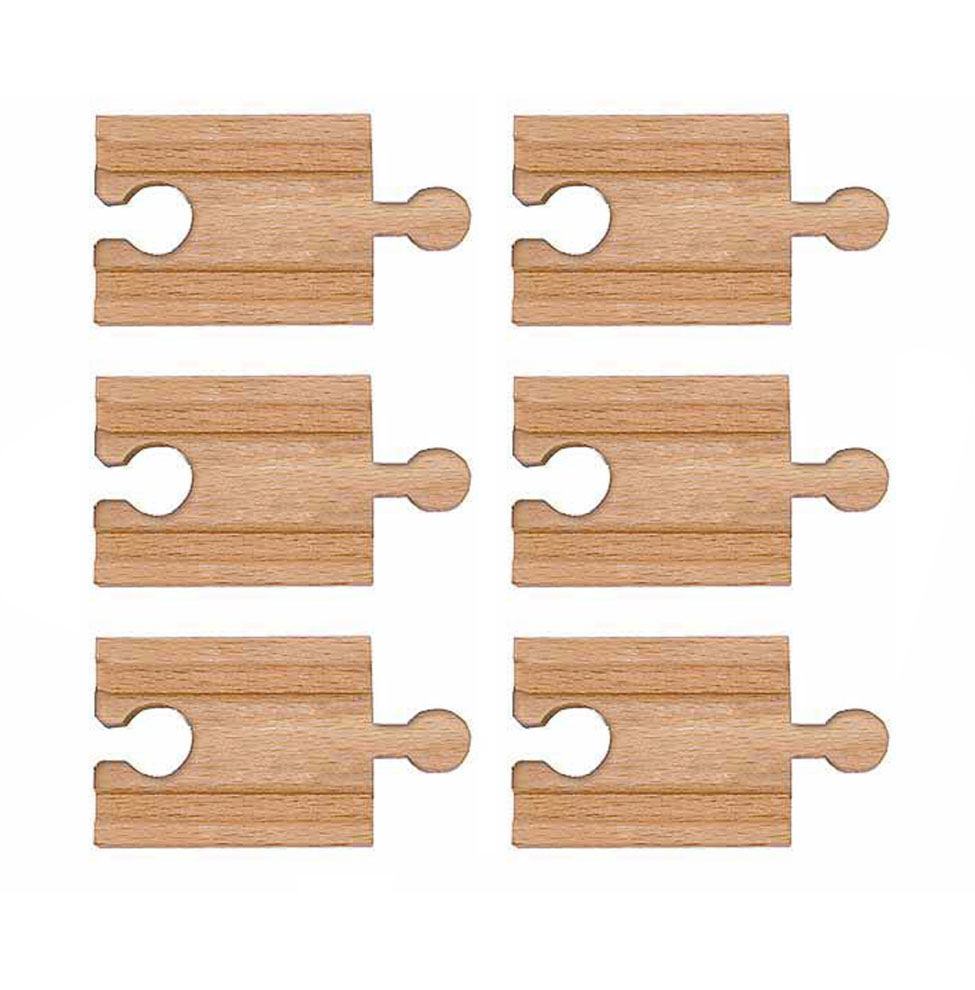 """It's easy to go further with a bundle of six pieces of wooden 2"""" straight track to expand and enhance your layout! Compatible with popular wooden railway systems."""