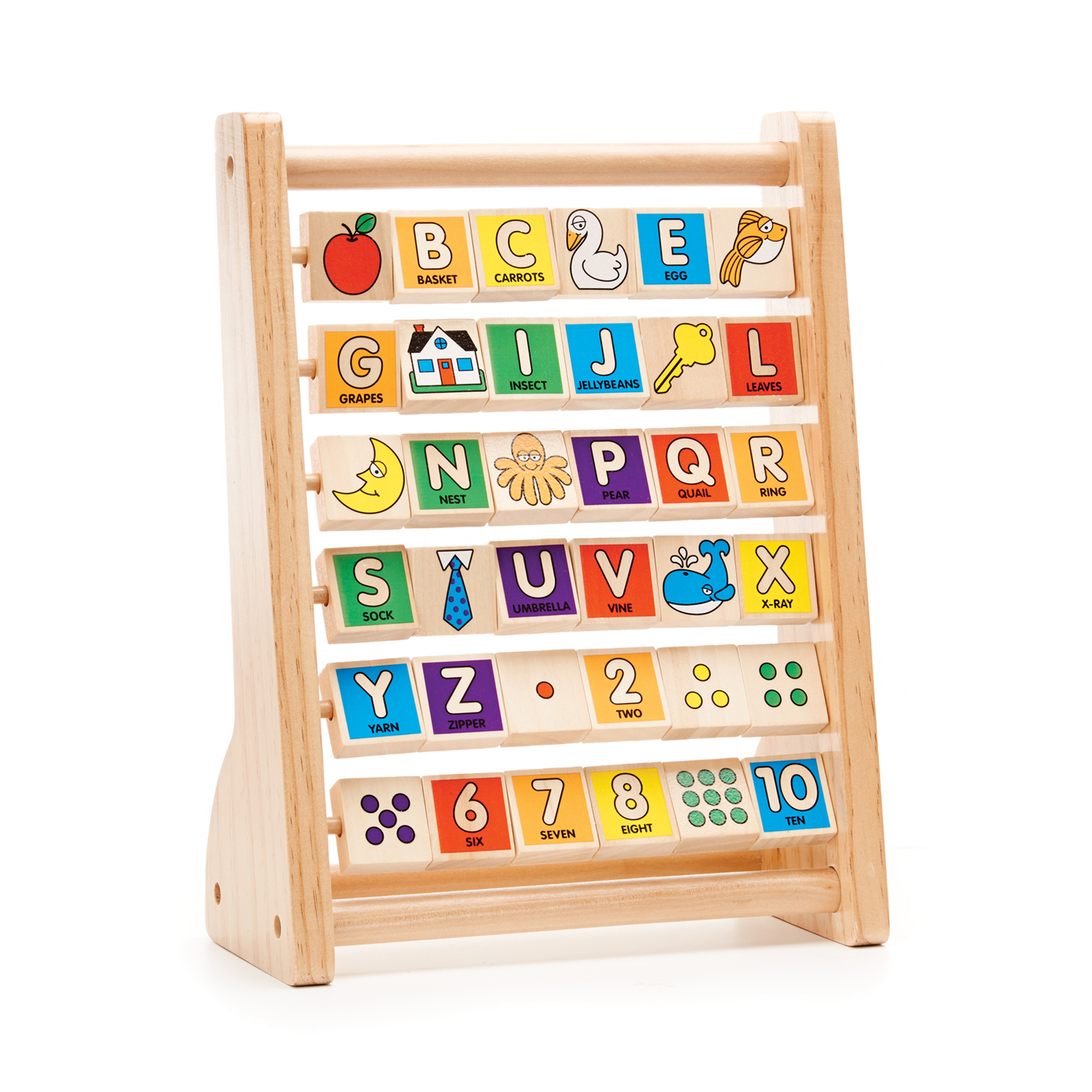 This timeless toy, featuring 36 colorful double-sided tiles, is an early-learning essential! The wooden frame includes all the letters of the alphabet as well as the numbers 1 through 10 on one side and whimsical illustrations including an apple, fish, key, moon, grapes, tie, and house on the other. The spinning tiles encourage children to play, explore, and learn. A tremendous value that will last for years!