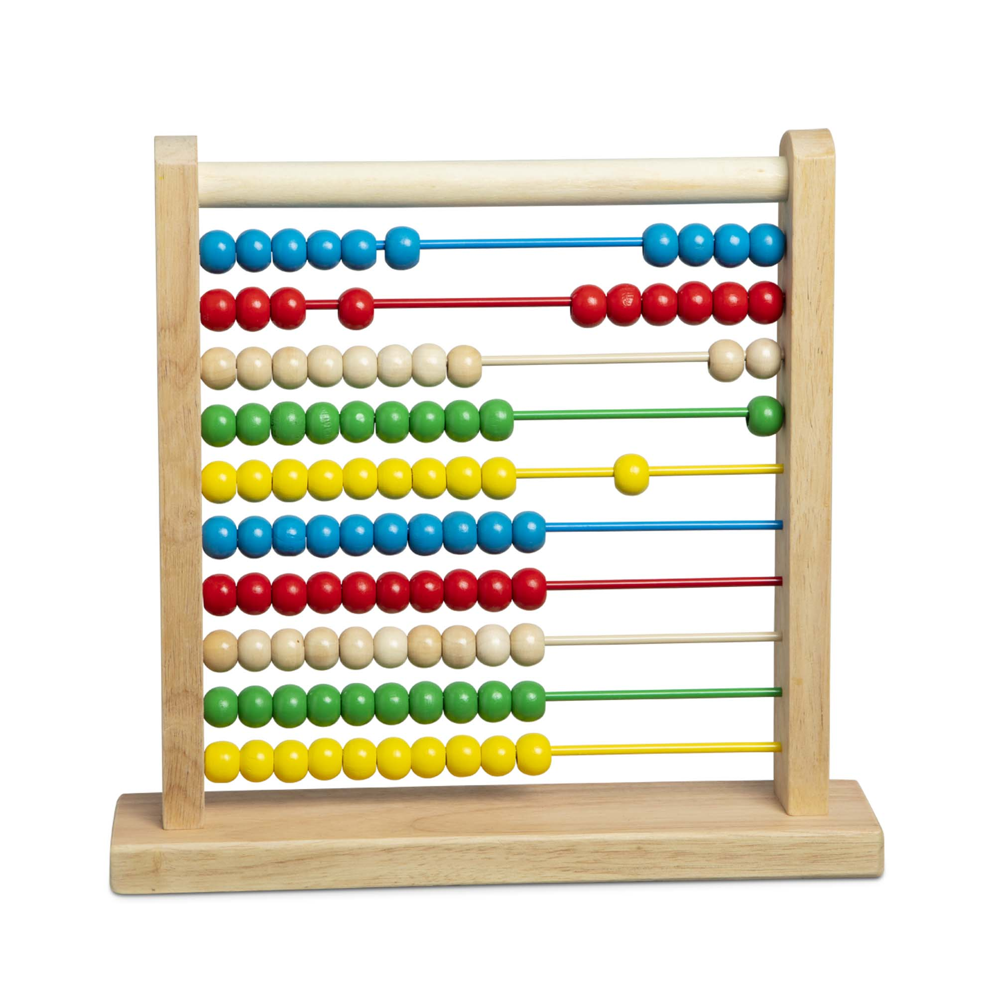 """Count on this classic wooden """"calculator"""" for years of play and learning! The solid hardwood base and frame holds 10 thick coated wires with 10 colorful wooden beads on each - 100 beads in all. Slide the beads for a visual and hands-on way to learn numbers and math concepts and to explore patterns and colors. Fun activity ideas included!"""