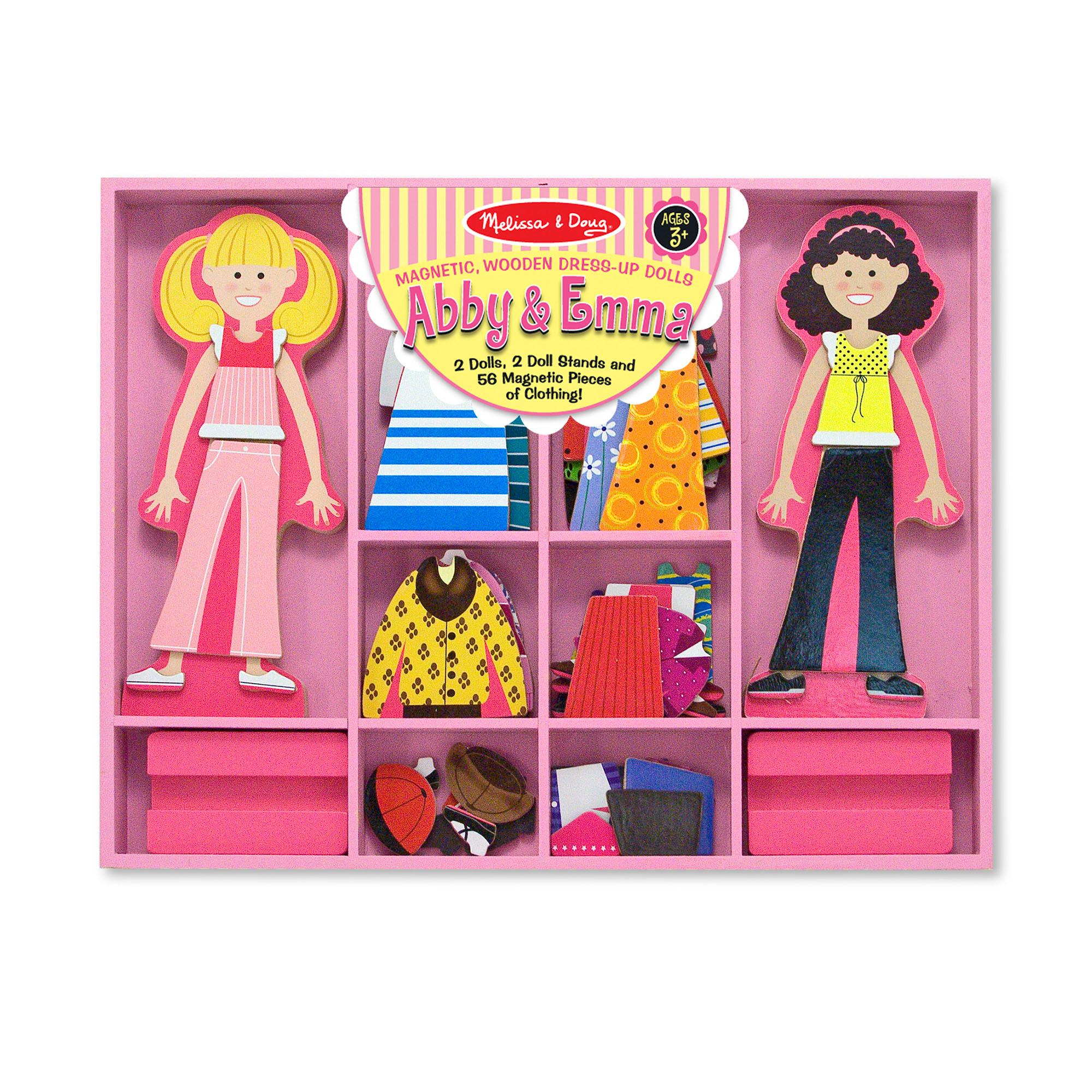 This magnetic dress-up play set makes kids the stylists! This wooden magnetic dress-up dolls play set includes two doll figures and 56 pieces of magnetic clothing that fit onto either one. Mix and match hundreds of possible doll outfits. then rearrange the pieces to change them again and again! Each magnetic fashion doll comes with a wooden stand for display and pretend play, and the complete fashion play set fits in a sturdy wooden storage tray that keeps everything in its place.
