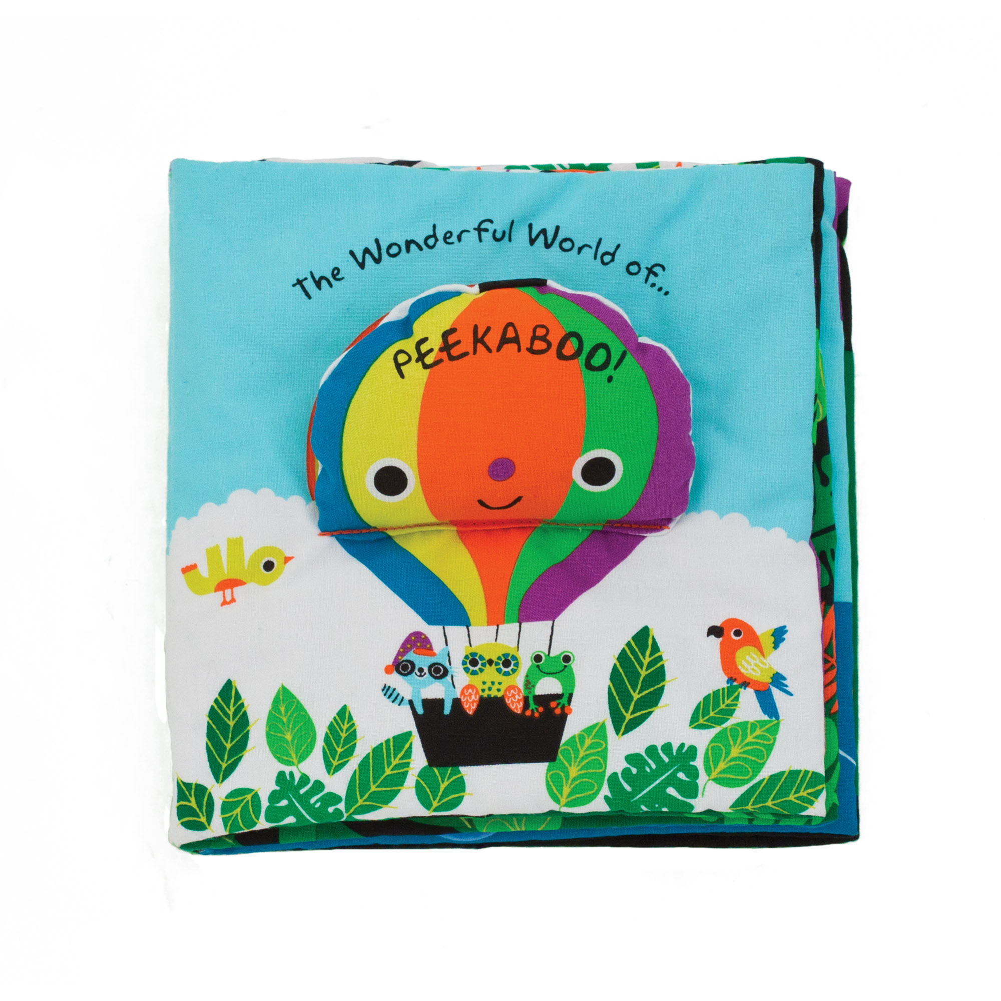 Playing peekaboo is more fun than ever with this crinkling, squeaking, lift-the-flap cloth book filled with jungle animals, flying friends, and more. Take a peek to see what you can find! Melissa & Doug K's Kids cloth books are packed with low-tech, high-impact novelties, and durably constructed to last through story time, playtime, and the washing machine, too!