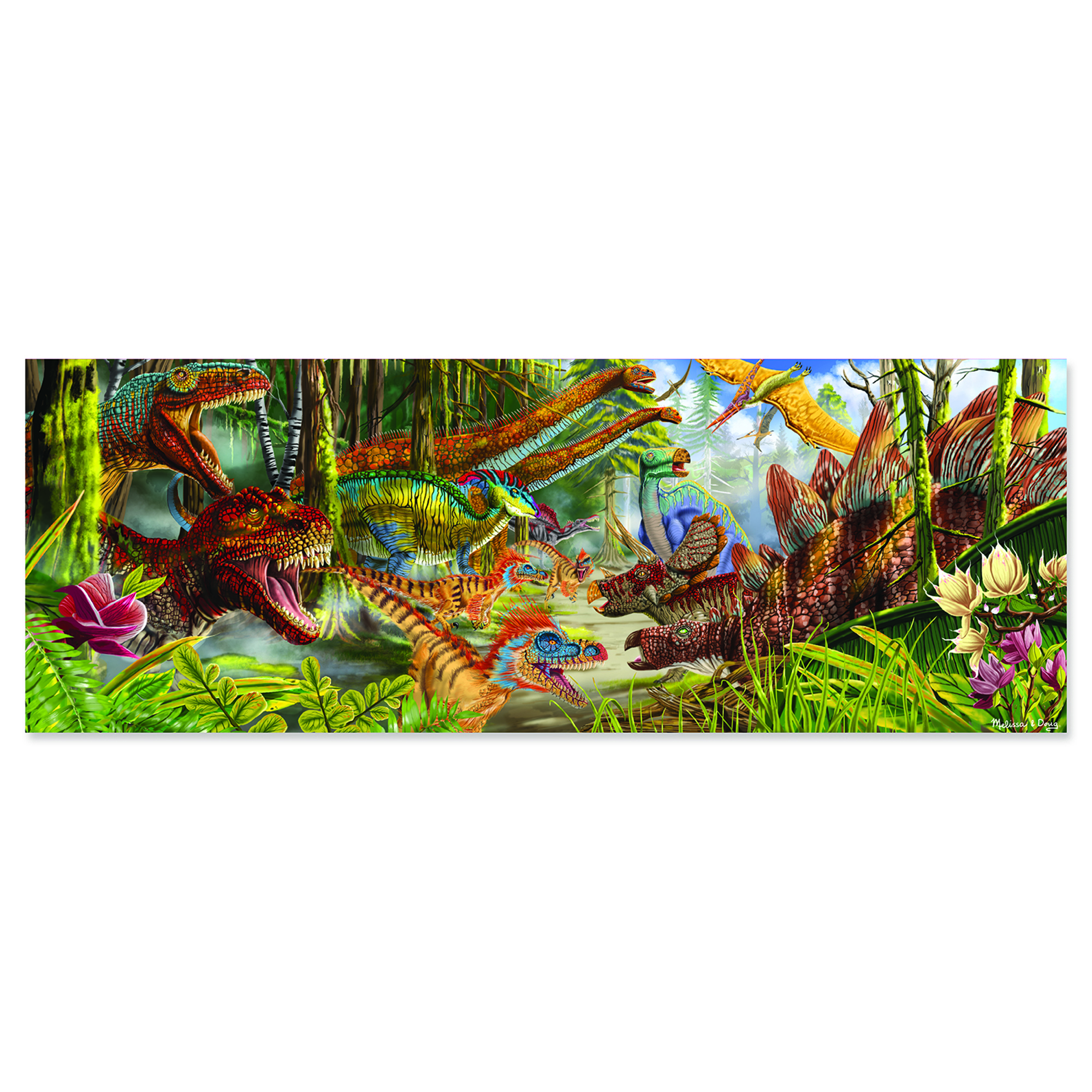 """Get a glimpse into prehistoric times with this 200-piece cardboard jig-saw puzzle. Complete the more than four-foot-long rectangular puzzle and use the included picture key to identify all 10 dinosaurs featured in the dramatic and colorful scene. The """"Easy Clean"""" surface keeps the puzzle looking like new. 50"""" x 18"""" assembled"""
