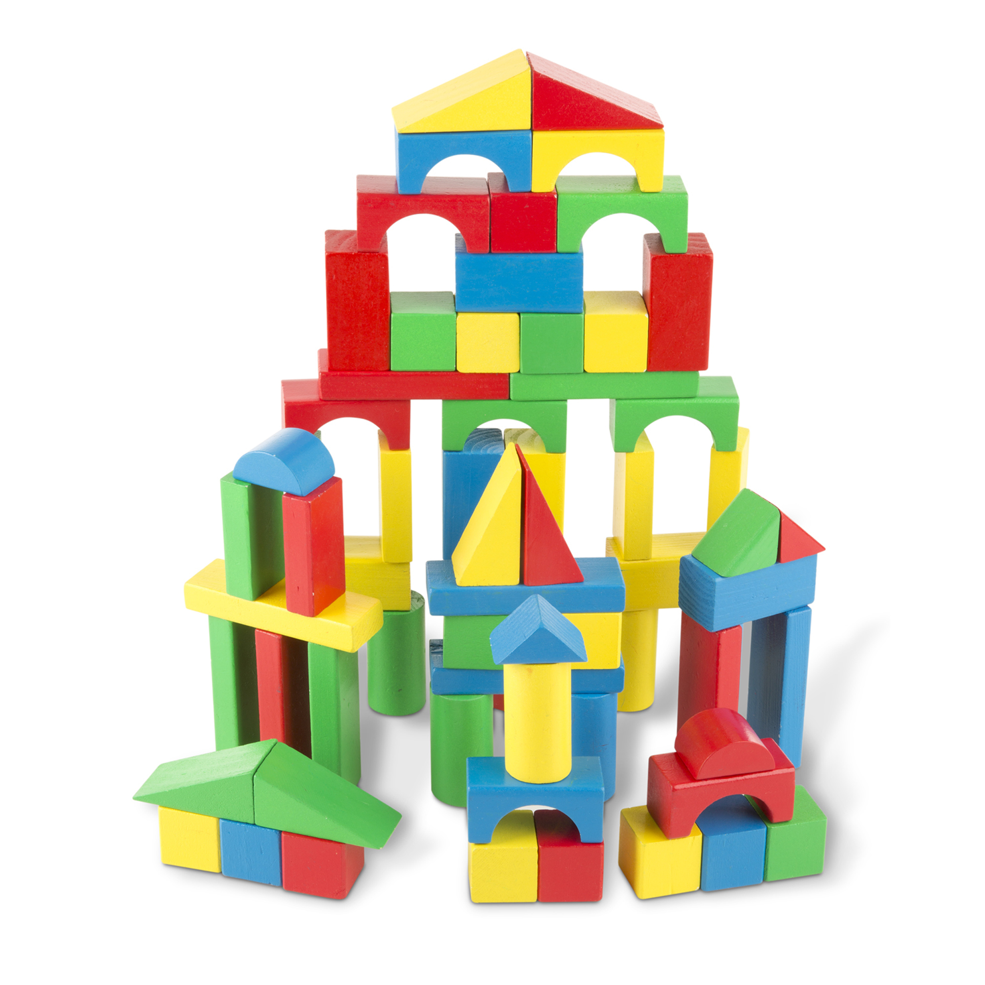 This favorite collection of 100 wooden blocks comes in four colors and nine shapes. Little builders will delight in stacking, building, and knocking down in countless colorful combinations, while gaining invaluable practice with fine motor skills and dexterity, color and shape recognition, and pre-math skills.