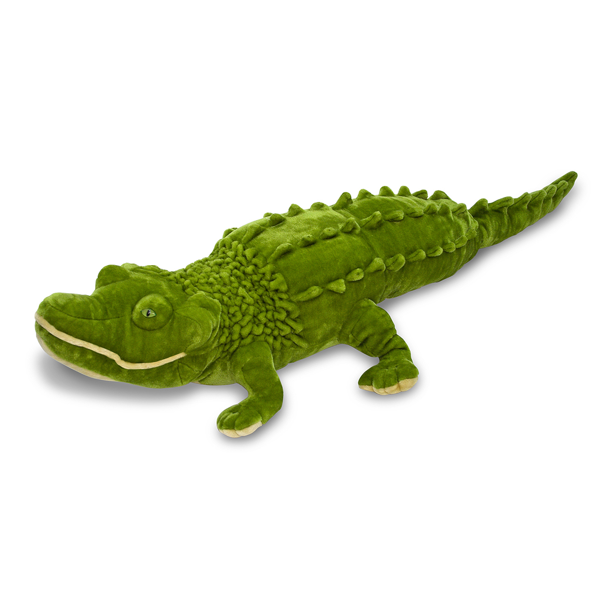 It's amazing! Over five feet long, this fabulous alligator stuffed animal will inspire lots of affectionate hugs. Every wrinkle and ridge adds to the allure and interest of this reptilian friend. With its excellent quality construction, it will withstand lots of friendly wrassling.