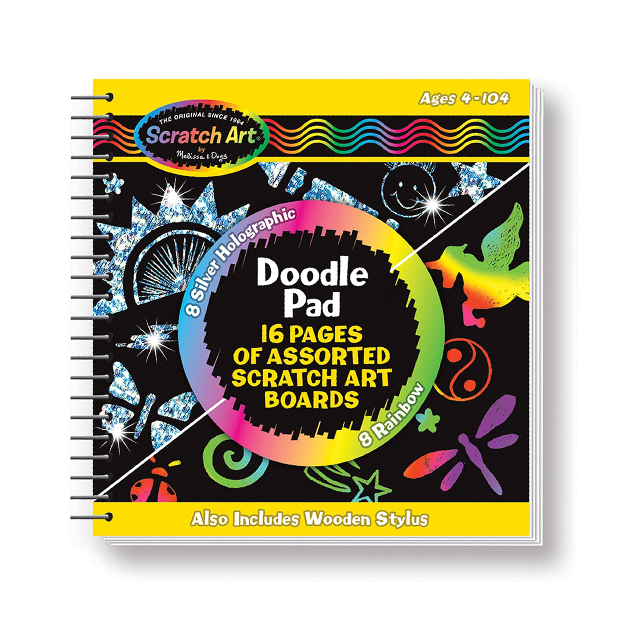 Flip open the doodle pad, draw or trace your designs and watch amazing effects shine through! With this pocket-sized spiral-bound drawing book, it's easy for kids to take their Scratch Art to go. The book includes 8 Scratch Art pages with rainbow backgrounds, 8 Scratch Art pages with silver holographic backgrounds, a wooden mini stylus and a stylus pocket in the cover. Former Scratch-Art® Product Number: 3287