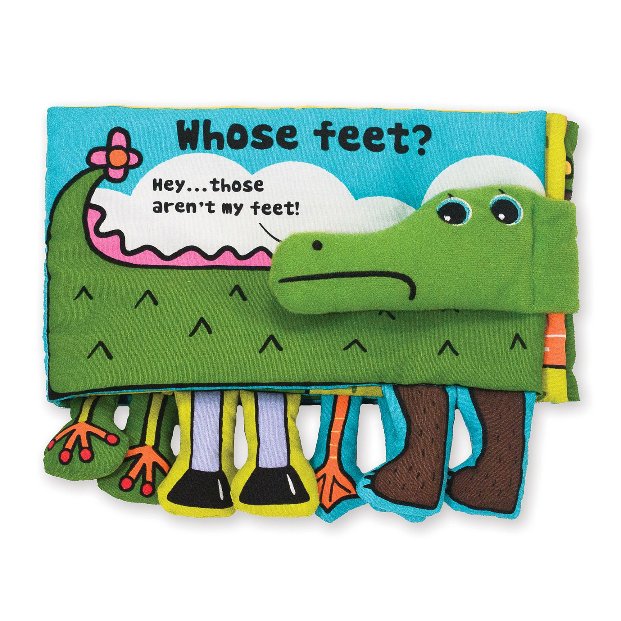 Crocodile can't find his feet! Turn the pages to find out whose feet are down below-and enjoy Crocodile's fancy footwork! This squeaking, crinkling, foot-filled cloth book from Melissa & Doug K's Kids is durably constructed to last through story time, playtime, and the washing machine, too!