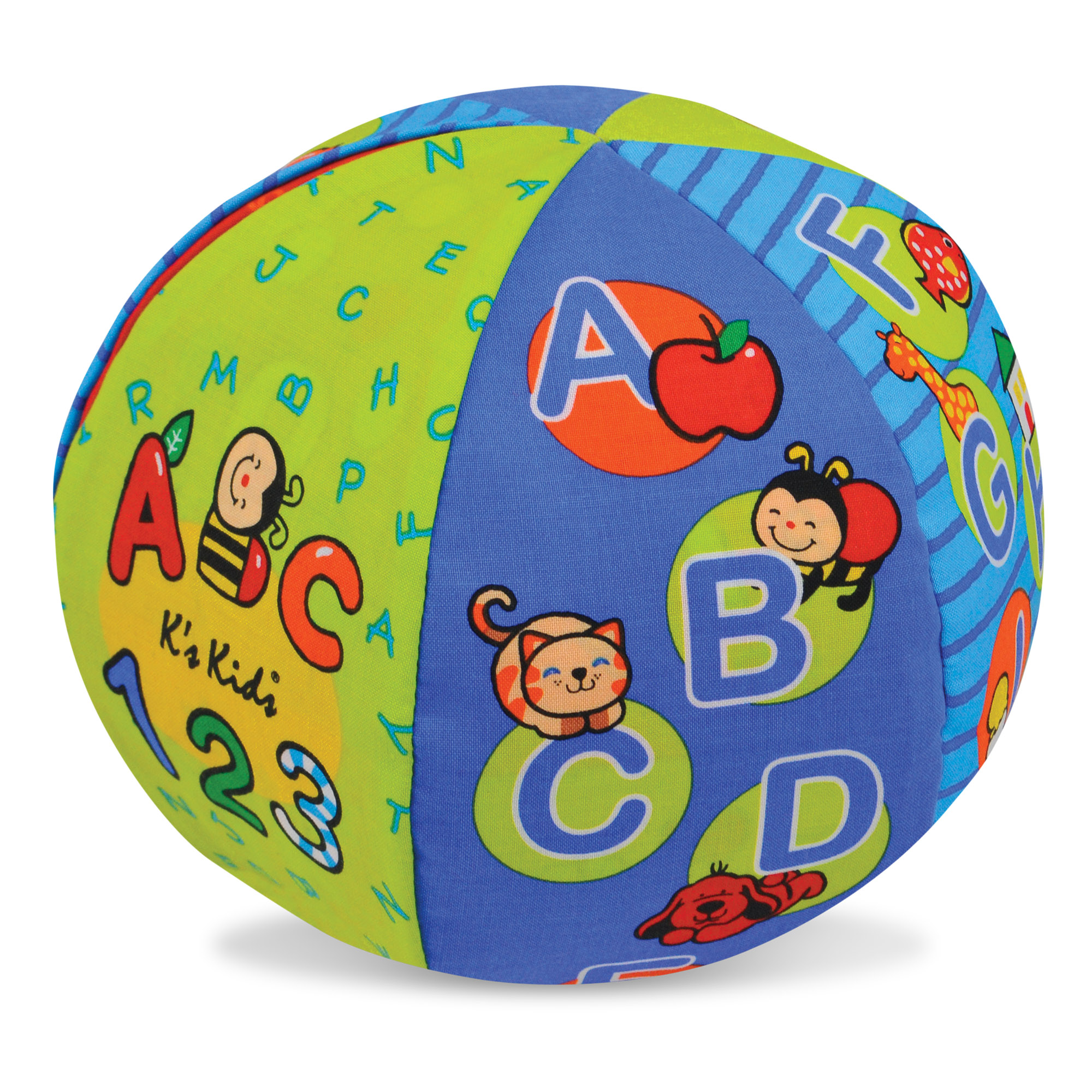 Toss it back and forth to hear this amazing ball say the ABCs or count to 10! Just flip a switch to select the mode you prefer, then turn the reversible fabric panels to highlight counting quantities, alphabet artwork, and bright colors and patterns. Designed to delight kids of any age, the pleasantly noisy ball is perfect for indoor tossing, catching, kicking, and rolling, helping babies, toddlers, and preschoolers develop gross motor skills as they play. The layered graphics also offer lots of detail to engage children's minds as they grow, gently introducing more advanced concepts such as odd and even numbers or vowels and consonants in a graphical way, and inviting exploration and discovery at a child's own pace. It's a wonderful way to introduce early-learning concepts in a playful, physical way that's perfect for young children! (Play tip: Listen for auditory surprises to cue more laughter along the way!) Melissa & Doug K's Kids toys nurture early childhood development in three