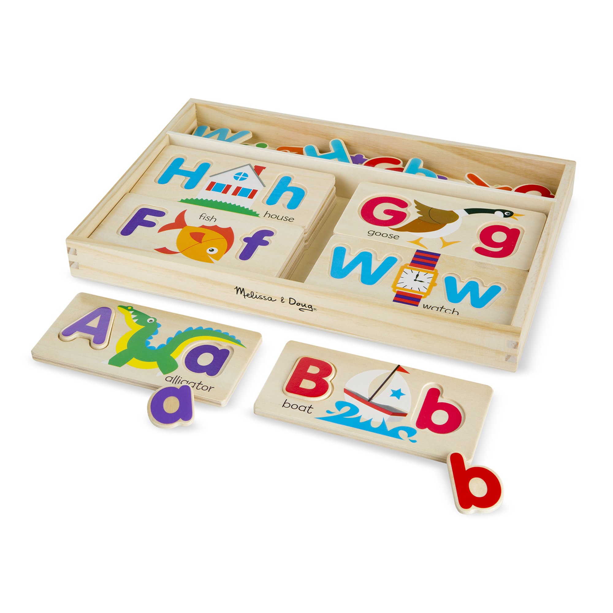ABC, tell me what you see! These adorably illustrated boards are a great way to work on letter and word recognition; a child simply picks a board-the first letter of his or her name is always a good place to start-then fills in the uppercase and lowercase letters and identifies the picture. He or she can turn it over or take another board and do it all again. With so many letters (each letter in the alphabet in both uppercase and lowercase), children can find infinite ways to play!