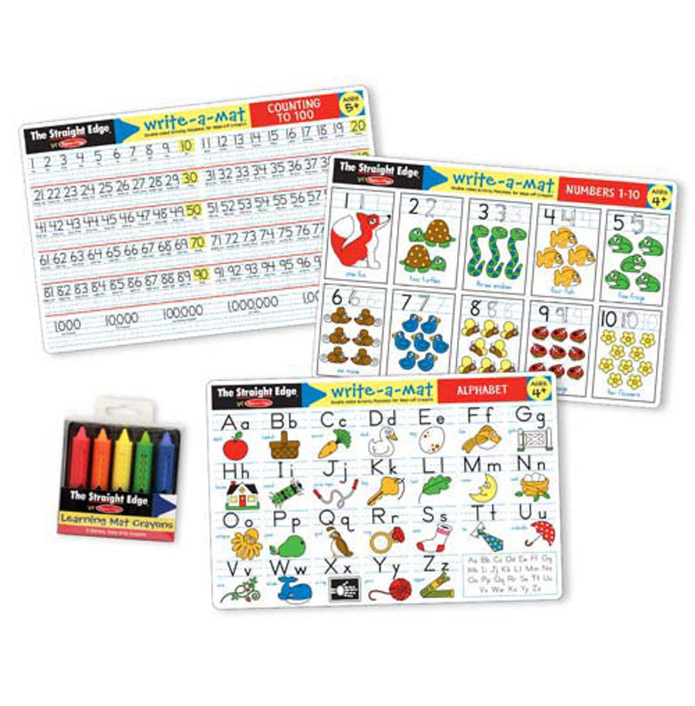 Present your child with this set of three double-sided mats that introduce the alphabet, numbers and counting in a fun and engaging way. Using the five included wipe-off crayons, play becomes active learning-and mastering these important academic skills becomes as easy as A, B, C and 1, 2, 3!
