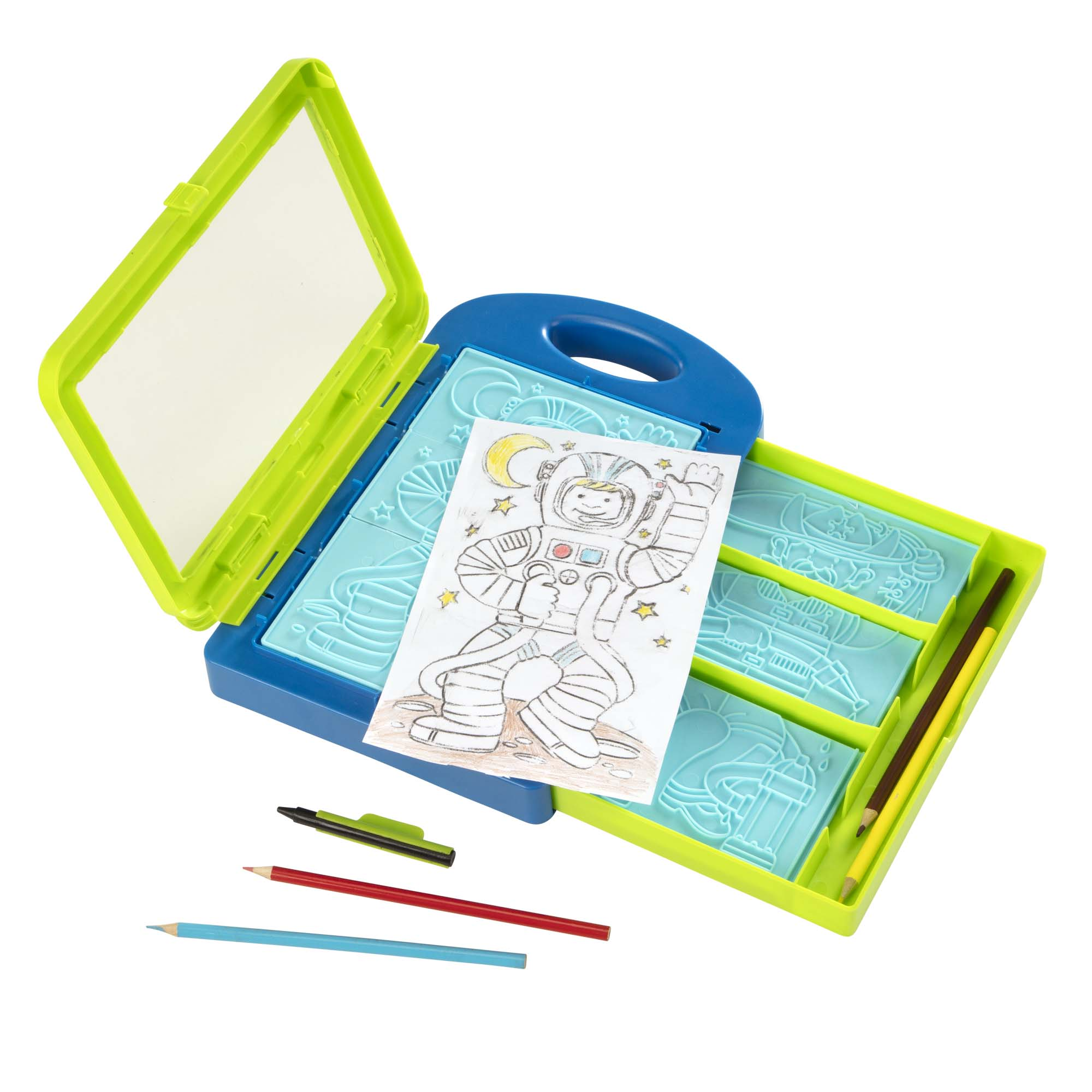 This plate rubbing set lets kids mix and match pieces to design and create hundreds of adventurous characters! Choose a top, middle, and bottom from nine double-sided plates, lay a piece of paper over the top, rub with a design crayon and. ta-da! A unique (and sometimes wacky!) illustration to color in! Encourages hand-eye coordination and creative expression.