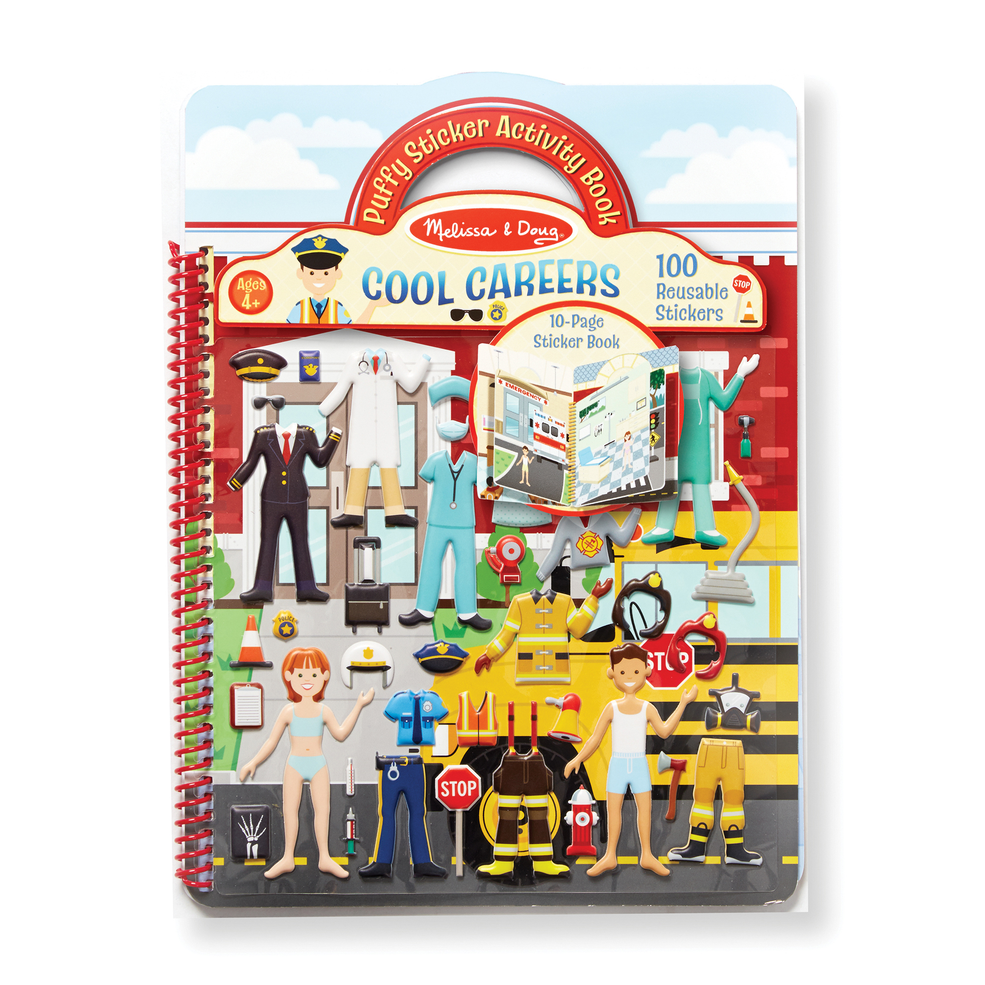 Explore a world of cool careers with this 10-page sturdy, spiral-bound sticker book. Layer the reusable stickers to dress the teacher, doctor, construction worker, police officer, firefighter, pilot, and more! Add tools and accessories to complete detailed scenes such as an airport, school, hospital, and neighborhood. The 100 stickers are easy to place, layer, and reposition. Simply place the puffy stickers on the boards, and then change the picture to change the story! This activity offers endless opportunities for kids to express their creativity, all while improving fine motor skills and communication. Format makes this kids' sticker activity set great for travel, too!